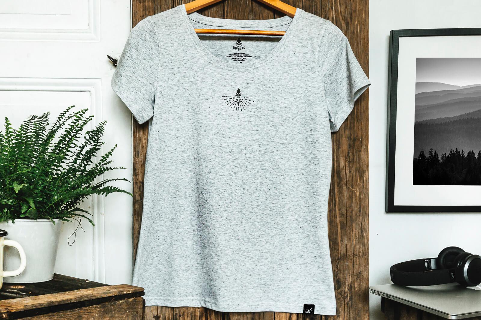 T-shirt femme Bio - Aigles - Gris galet chiné - Petit Bivouac