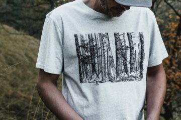 T-shirt homme Bio - Forêt - Gris galet chiné - Petit Bivouac