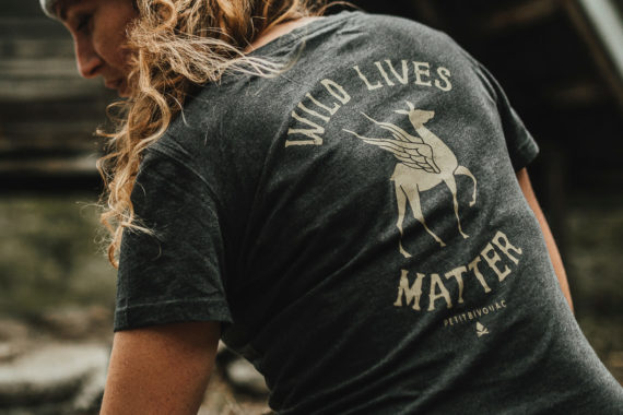 T-Shirt femme Bio - Wild Lives - Gris ardoise chiné - Petit Bivouac