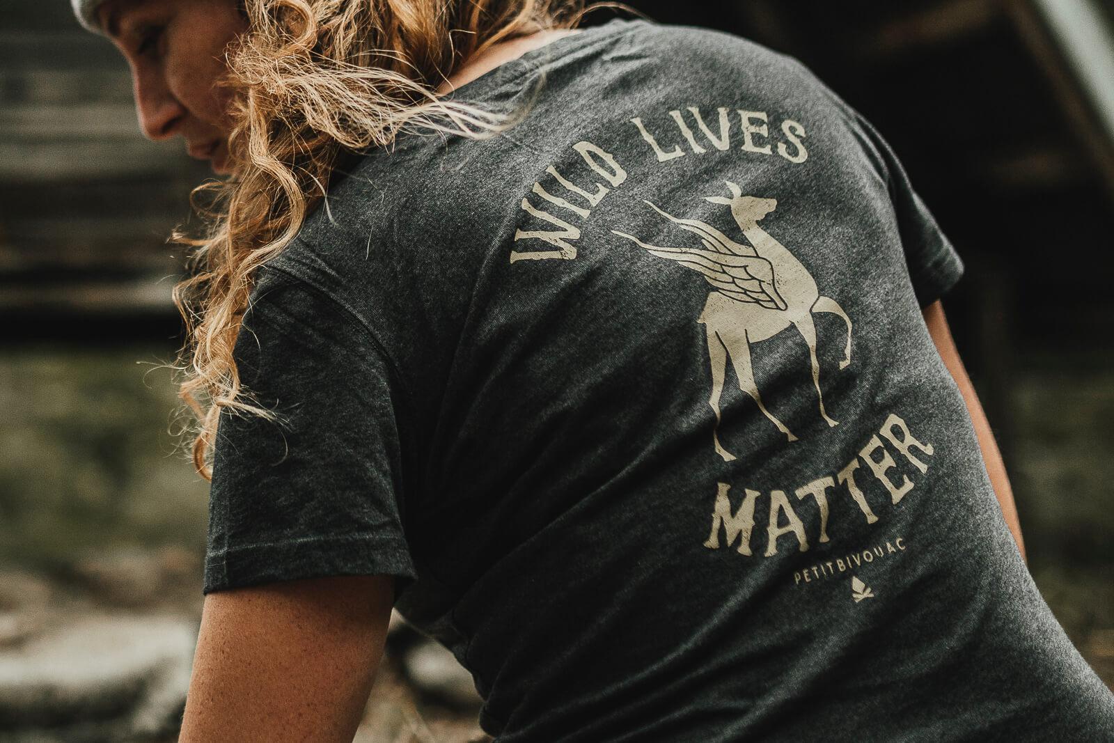 T-Shirt femme Bio – Wild Lives – Gris ardoise chiné – Petit Bivouac