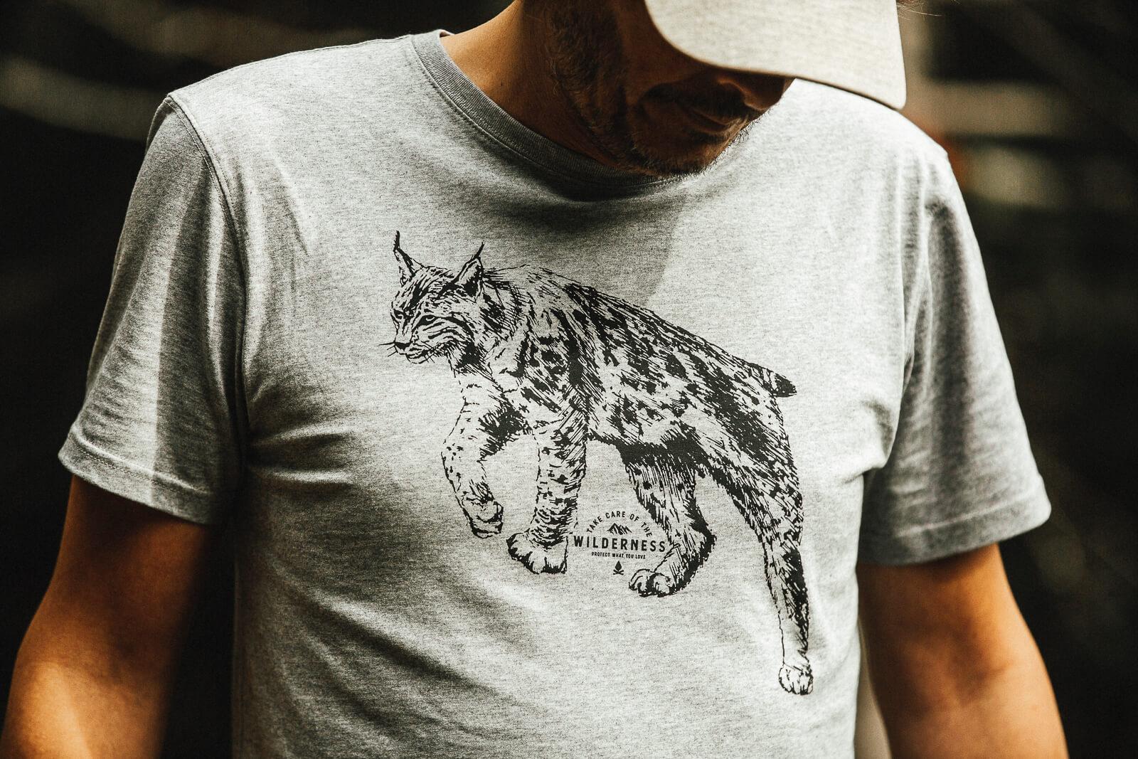 T-shirt homme Bio – Lynx – Gris rocher chiné – Petit Bivouac