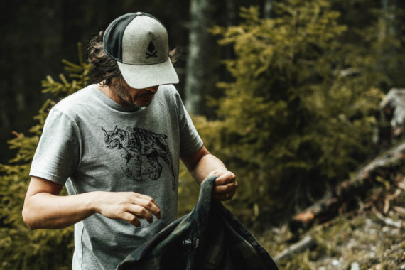 T-shirt homme bio - lynx - Petit Bivouac - Take care of the wilderness