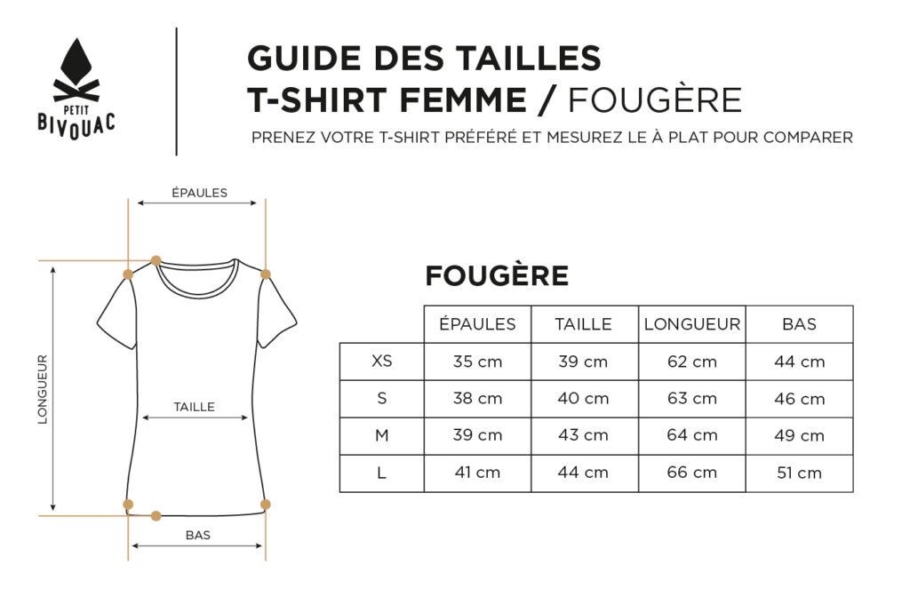 Guide des tailles-t-shirts femme fougere