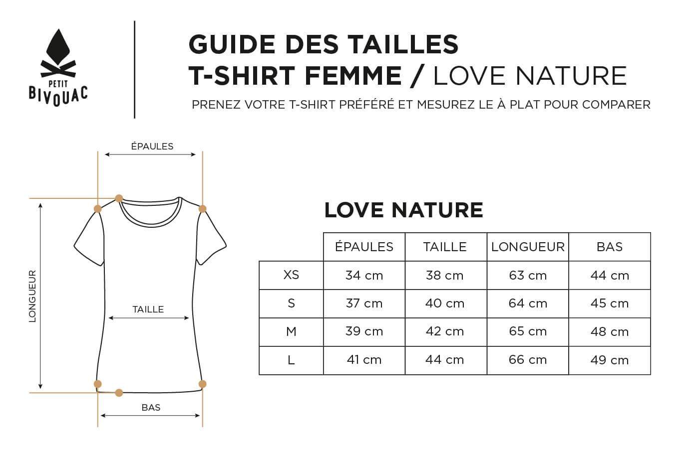 Guide des tailles-femme-love nature-Petit Bivouac