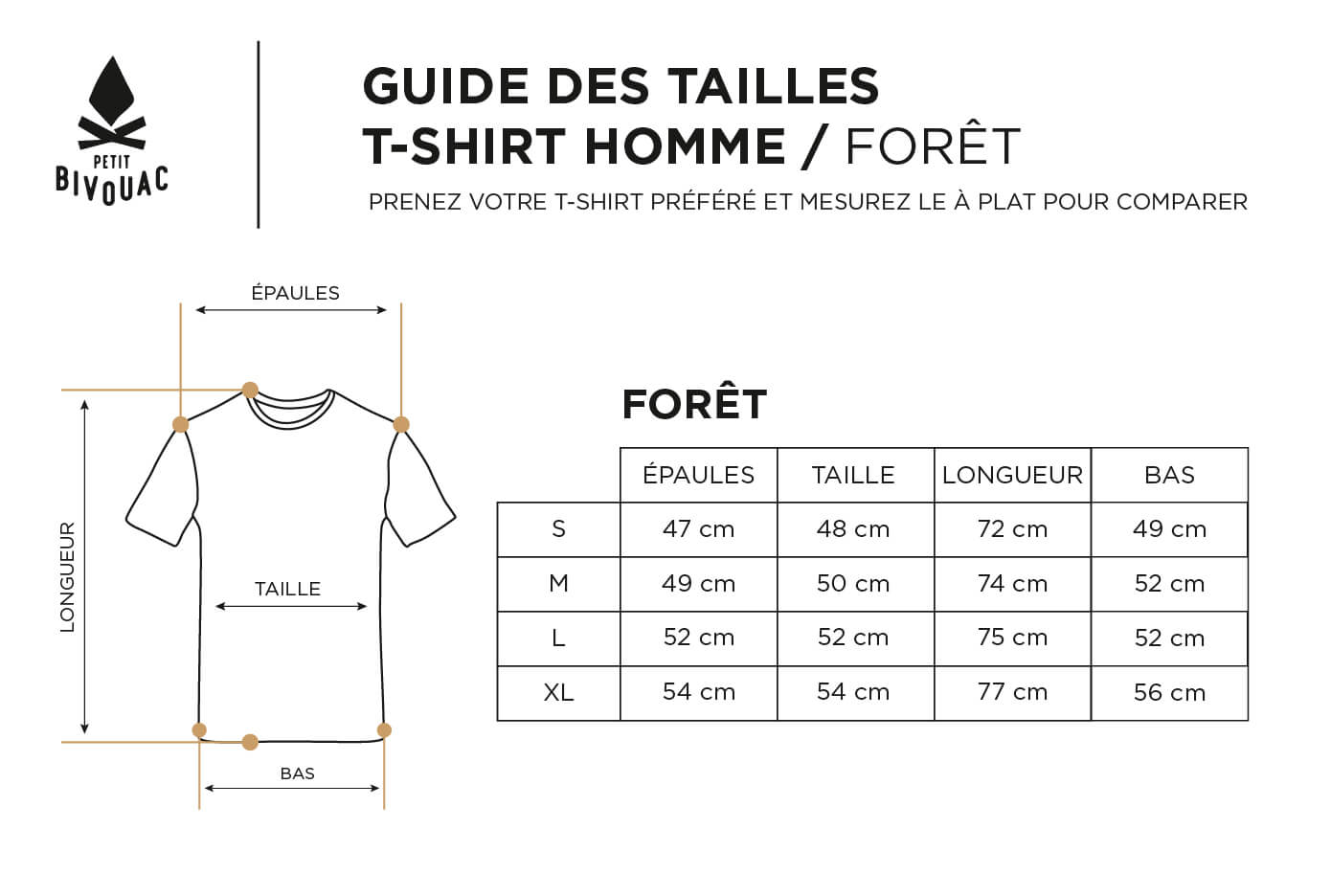 Guide des tailles-homme_T-shirt Forêt_Petit Bivouac