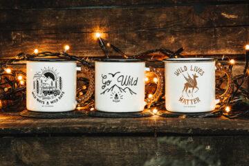 Lot 3 mugs métal émaillé